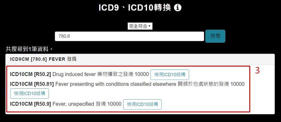 撫仙(Foreseen) ICD-9, ICD-10部分符合編碼查詢轉換示意圖